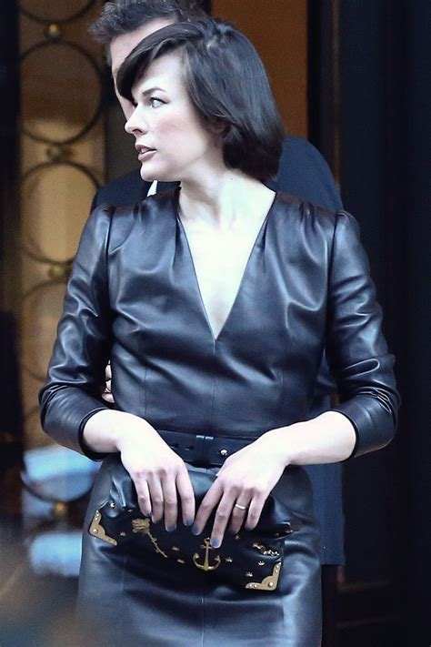 Milla Jovovich at her hotel in Milan - Leather Celebrities